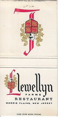 Llewellyn Farms Restaurant Morris Plains New Jersey NJ Old Matchcover