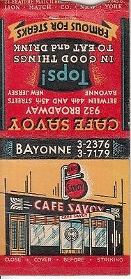 Cafe Savoy 932 Broadway Bayonne New Jersey NJ Old Illustrated Art Matchcover