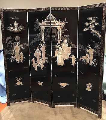 Vtg 60s Mother Of Pearl & Bone Lacquer Oriental 4 Panel Partition Folding Screen