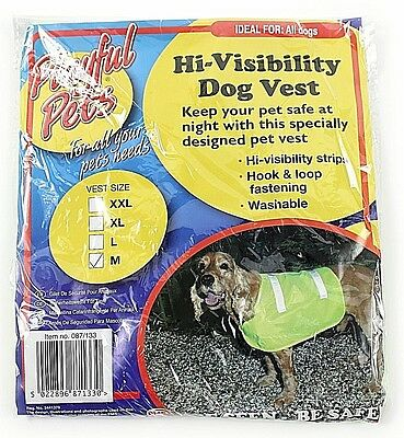 Medium Pet Dog High Visibility Hi Viz Florescent Reflective Safety Vest Coat Uk
