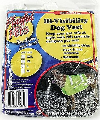 Large Pet Dog High Visibility Hi Viz Florescent Reflective Safety Vest Coat Uk