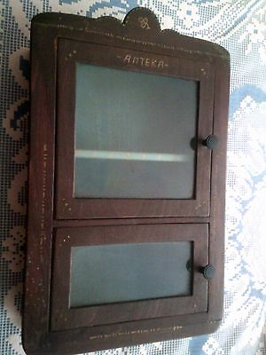 Antique Wood § Glass   Medicine Cabinet Apothecary  Wall Chest