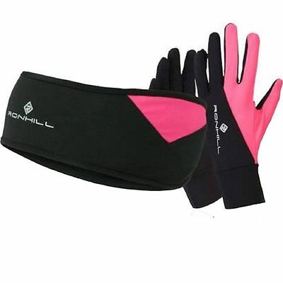 Ronhill Vizion Headband and Gloves set Running Jogging size s/m Black/FluoPink