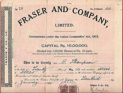Rare Fraser And Company Limited Shares Certificate 1955