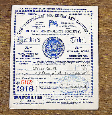 Antique Shipwrecked Fisherman Mariners Society 1916 Members Ticket