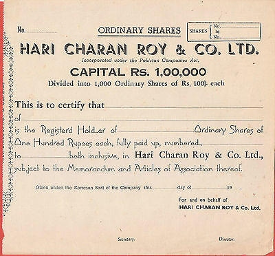 Rare Hari Charan Roy & Co, Limited Blank Shares Certificate