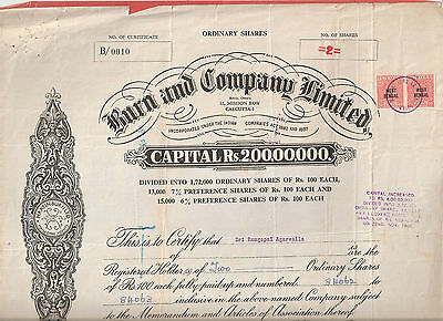 Rare Burn And Comany Limited Shares Certificate 1963