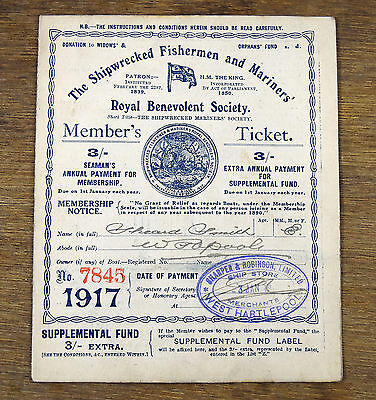 Antique Shipwrecked Fisherman Mariners Society 1917 Members Ticket