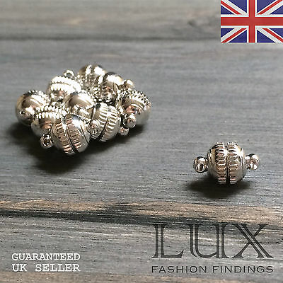 10x Strong Round Magnetic Clasp Fastener 8mm Tin Plated Nickel Free