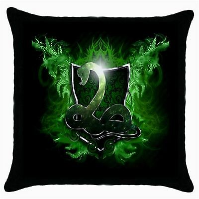 Harry Potter Hogwarts Slytherin Quality Black Cushion Cover Throw Pillow Case