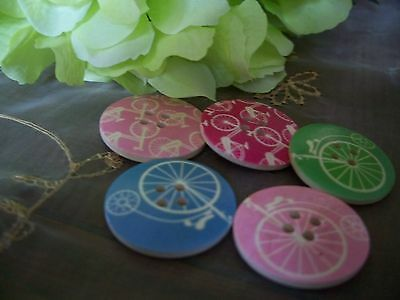 5 Vintage style Bicycle Wooden Buttons