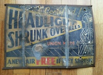 Vintage Antique Headlight Overalls jeans sign KT all weather train graphics