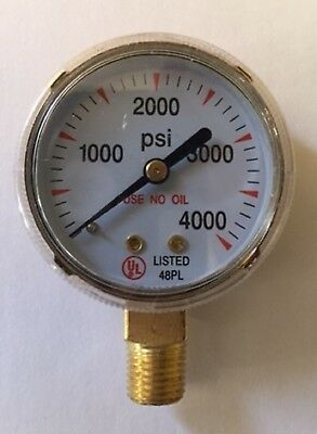 "2""X4000 PSI pressure gauge for Oxygen Regulators 0-4000 PSI, 1/4""-18NPT 2-4000"