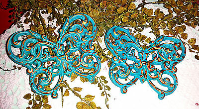 Set of 2 Vintage Upcycled Aqua Blue SYROCO SHABBY CHIC Butterflies Wall Decor