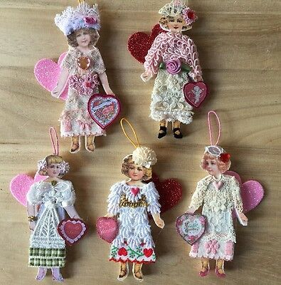 Lot Of 5 Handcrafted Victorian Style Paper Doll VALENTINE Heart Girl Ornaments