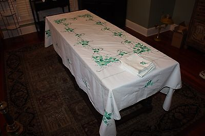 "Vintage Hand Stitched Tablecloth 99"" x 63"" Rectangular Embroidered w/ 10 Napkins"