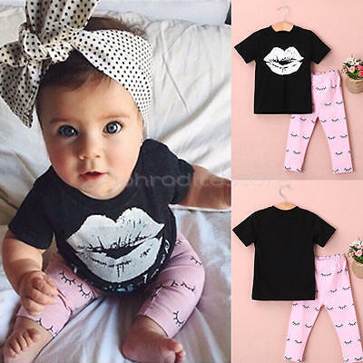 Top Newborn Infant Kids Baby Girl Lip T-shirt +Long Pants Outfits Clothes 18-24M