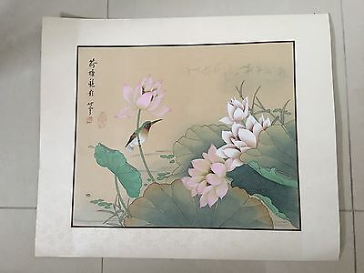 Preowned   Asian Hand Painted Chinese Watercolor on Silk Signed