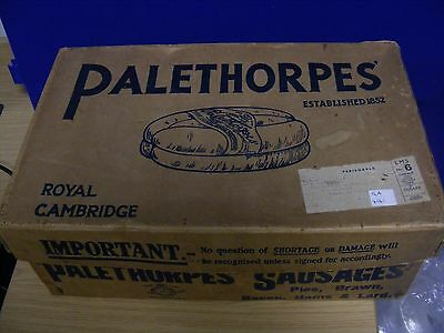 Vintage collectable carton / box PALETHORPES SAUSAGES.  c1920. Imperfect