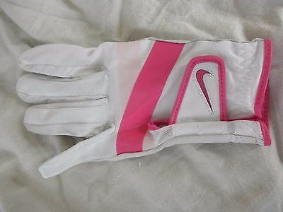NIKE~WHITE & Pink SOFT Leather LEFT HAND GOLF GLOVE~Size SMALL Women