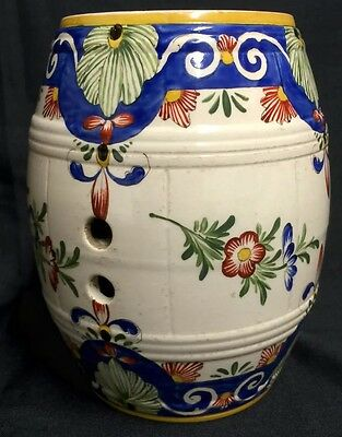 Beautiful Antique Faience Hand Painted Spirit Barrel