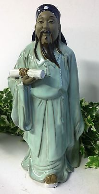Beautiful Vintage Oriental Chinese Porcelain Ceramic Male Figurine With Scroll