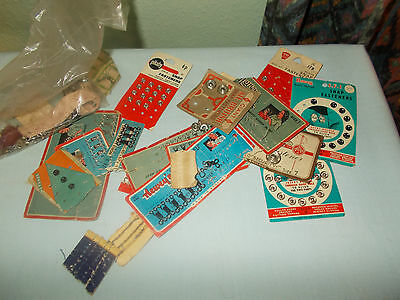 Vintage Sewing Items-Loads Of Newey Hooks & Eyes & Fastene-Carded But Incomplete