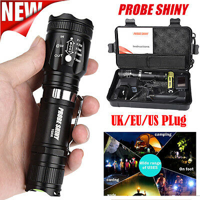X800 Zoomable XML T6 LED Tactical Flashlight +18650 Battery +Charger+Case Kit