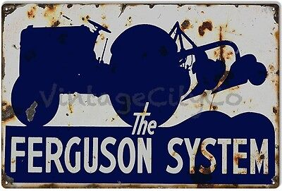 "Antique Style Farming "" Ferguson Tractor System "" Metal Sign - Rusted"