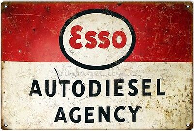 """Antique Style """" Esso - Autodiesel Agency """" Metal Sign - Rusted"""