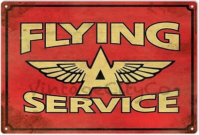 """Antique Style """" Flying A Service """" Advertising Metal Sign - Rusted"""