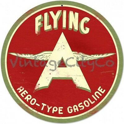 """Antique Style """" Flying A Original Gasoline Logo """"  Round Metal Sign - PTS203"""