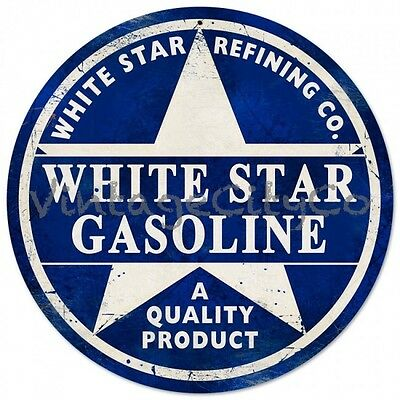 "Antique Style "" White Star Gasoline Logo ""  Round Metal Sign - PTS139"