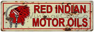"Antique Style ""Red Indian Motor Oils"" Metal Sign - Rusted"