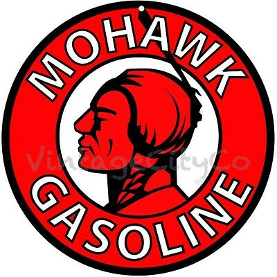 "Antique Style "" Mohawk Gasoline "" Round Advertising Metal Sign - Not Tin"