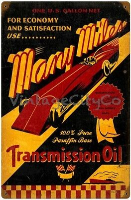 "Antique Style "" Many Miles - Transmission Oil "" Metal Sign - PTS172"