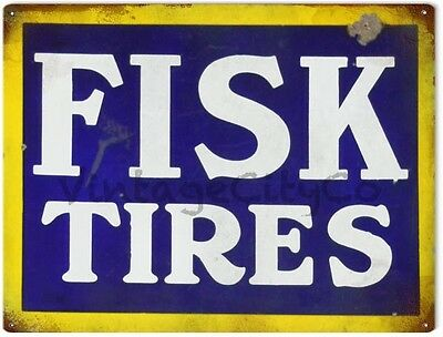 """Antique Style """" Fisk Tires """" Advertisement Metal Sign - Rusted"""