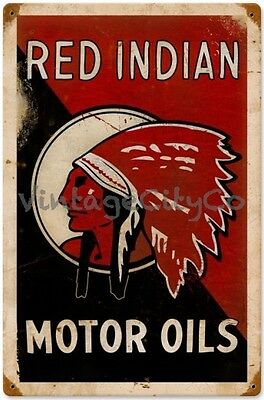 "Antique Style "" Red Indian Motor Oils "" Metal Sign - PTS174"