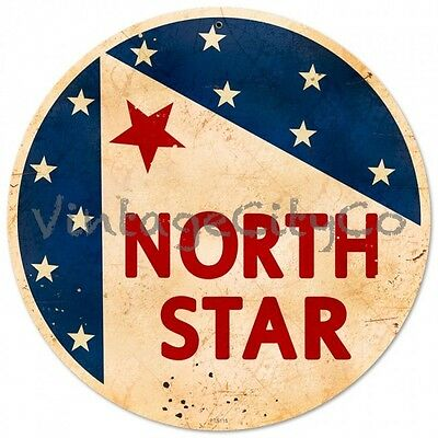 "Antique Style "" North Star Gasoline Logo ""  Round Metal Sign - PTS115"
