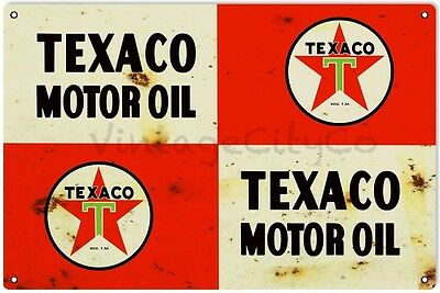 """Antique Style """" Texaco Motor Oil """" Can (Flat) Advertising Metal Sign - Rusted"""