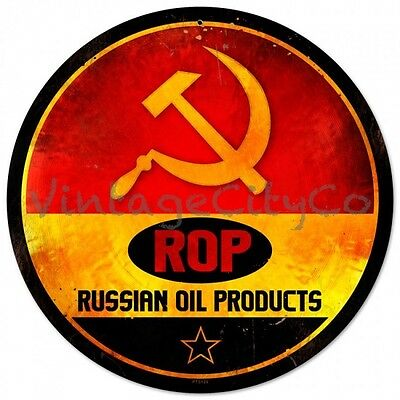 "Antique Style "" ROP - Russian Oil Products Logo ""  Round Metal Sign - PTS129"