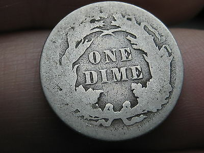 1887 P Seated Liberty Silver Dime- Good/VG Details