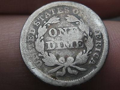 1854 P Seated Liberty Silver Dime- With Arrows