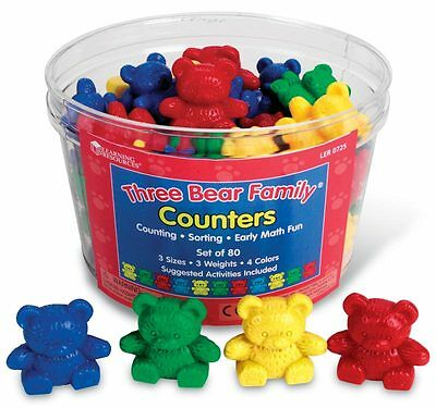 Learning Resources Three Bears Family Colourful Counters Set of 80 – NEW
