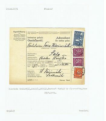 Finland 1931 Parcel Card