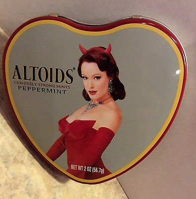 Altoids Curiously Strong Mints Peppermint Devil Pin Up Girl Heart Tin Empty