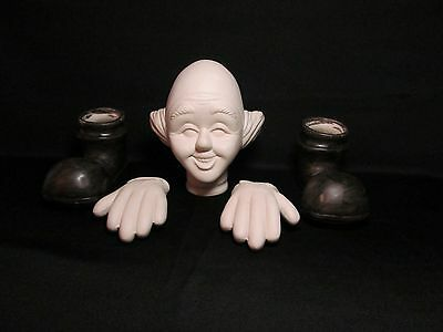 Vintage Large Scioto Ceramic Mime Clown Head Hands Feet Doll Making