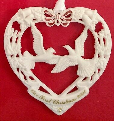 Wedgwood 2001 Our First Christmas Together Doves Heart Birds Ornament Holly Bell