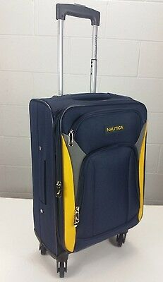 """Nautica Open Seas 21"""" Navy Yellow Expandable Spinner Carry On Luggage Suitcase"""
