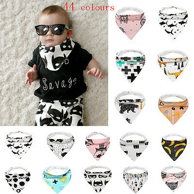 Baby Kid Cotton Bandana Bibs Feeding Saliva Towel Dribble Triangle Waterproof UK